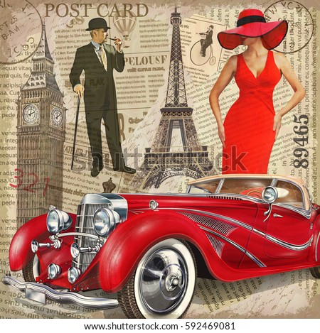vintage poster paris london...