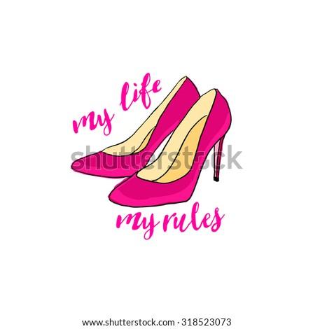 vintage posterpink high heels