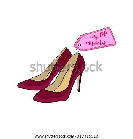 vintage posterred high heels