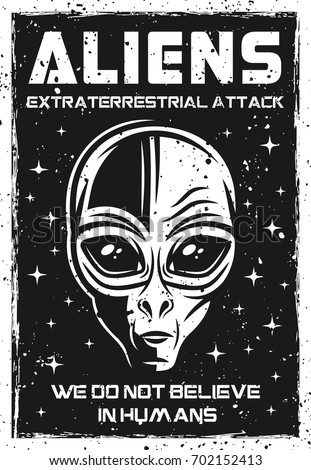 vintage poster with alien head