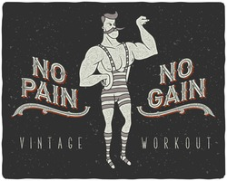 Vintage poster with circus strong man and slogan: