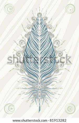 Vintage poster with ornate feather in faded colors. Vector illustration.