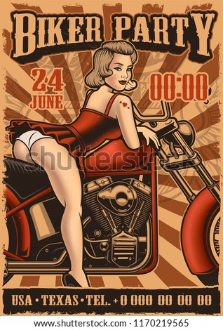 Vintage poster with pin up girl and motorcycle. flyer template of biker party in retro style.