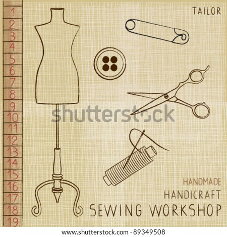 Vintage poster with tailoring elements 1