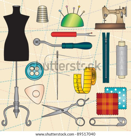 Vintage poster with tailoring elements 4