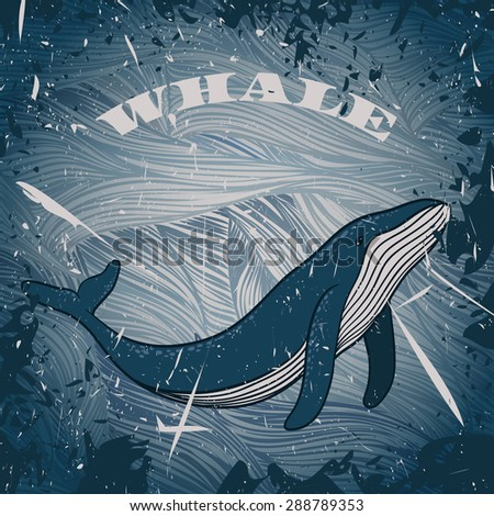 vintage poster with  whale on