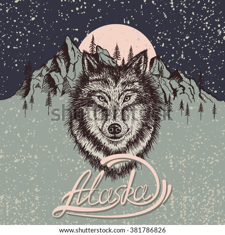 vintage poster with wolf on the