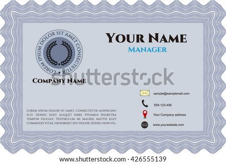 Vintage Presentation Card. Detailed. Easy to print. Cordial design.