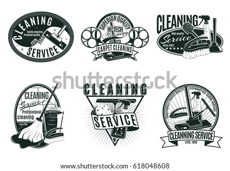 Vintage professional cleaning service labels set with inscriptions housekeeping tools and products isolated vector illustration