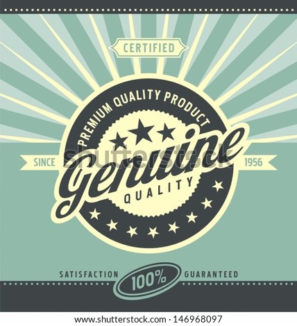 Vintage promotional poster for premium quality product. Retro label vector background.  Stock photo ©