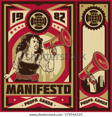 vintage propaganda poster and