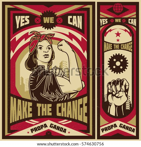 Vintage propaganda poster and elements. Isolated artwork object. Suitable for and any print media need.