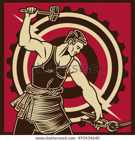 Shutterstock Vintage propaganda poster and elements. Retro Clip art of a Worker Swinging a Sledge Hammer. Isolated artwork object. Suitable for and any print media need.