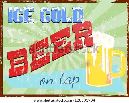 vintage pub / bar / beer sign, vector illustration