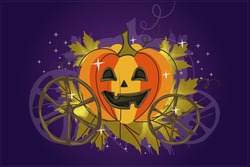 Vintage pumpkin carriage with ornate ornaments on a purple background. Sketch for a poster or postcard for the holiday of Halloween or Thanksgiving. Isolated vector cartoon illustration close up.