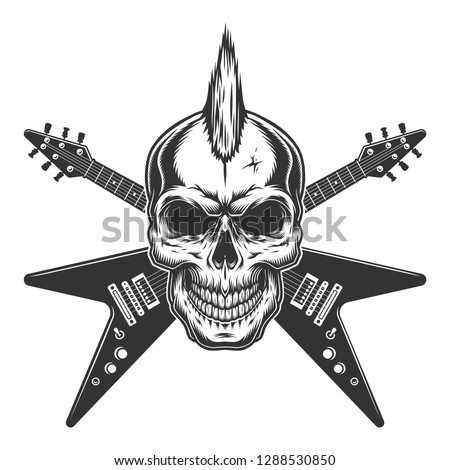 018e47368cda Vintage punk rock star skull with mohawk and crossed electric guitars  isolated vector illustration