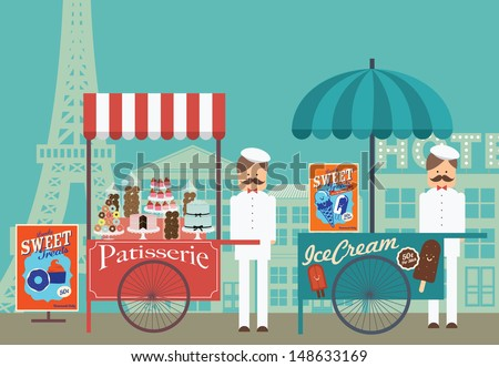 vintage push cart ice cream patisserie paris vector illustration