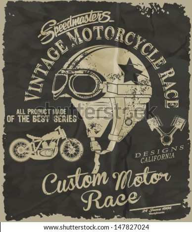 vintage race car and motorcycle for printing.vector old school race poster.retro race car OR MOTORCYCLE set