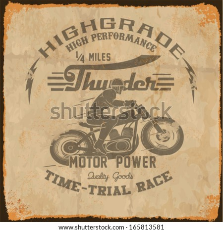 vintage race car and motorcycle for printing.vector old school race poster.retro race motorbike set