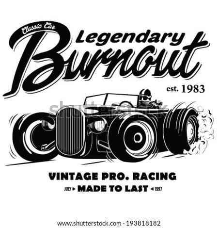 vintage race car burnout for