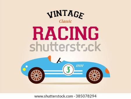 vintage race car classic poster ...
