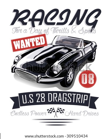 vintage race car for printing