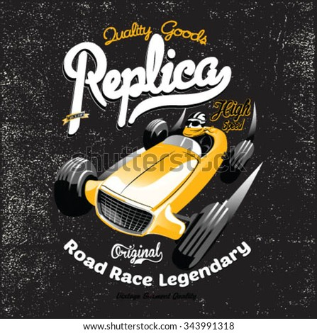vintage race car for printing.vector old school race poster.
