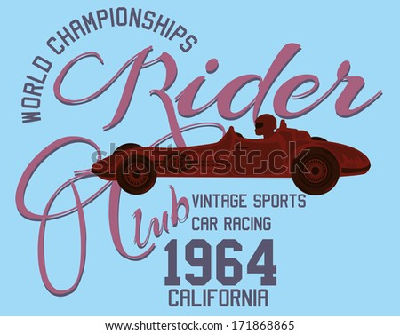 vintage race car  vector art