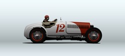 Vintage racing car. Vector illustration.