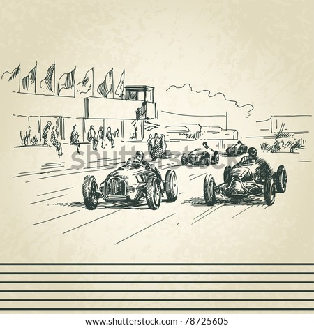 Auto Racing Vintage on Vintage Racing Cars Stock Vector 78725605   Shutterstock