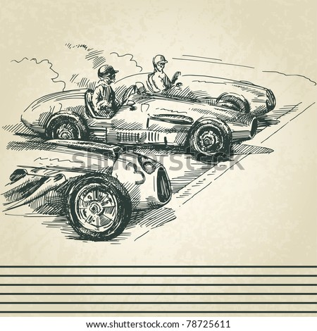 Auto Racing Vintage on Vintage Racing Cars Stock Vector 78725611   Shutterstock