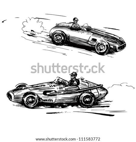 Vintage Antique Auto Racing on Vintage Racing Cars   Hand Drawn Collection Stock Vector 111583772