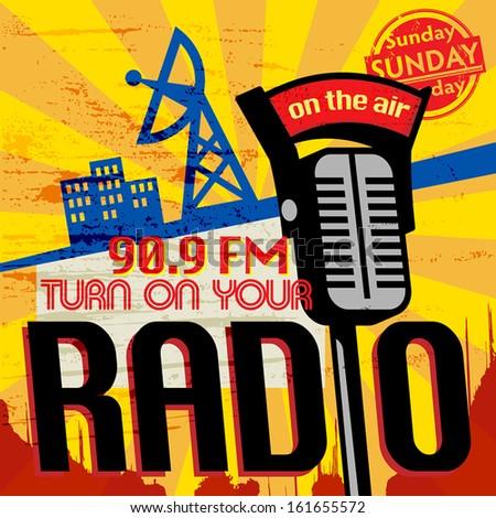 Vintage Radio poster, vector illustration