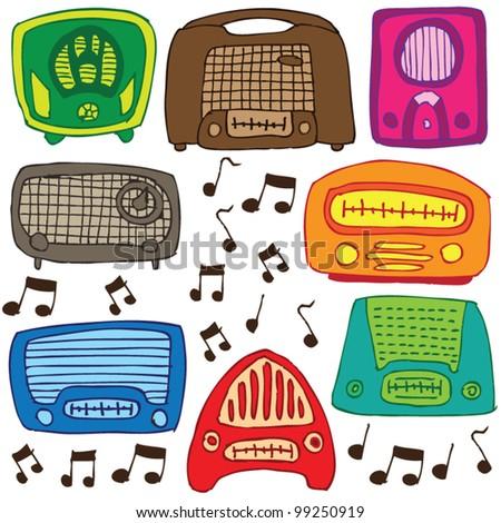 stock vector : Vintage radios vector