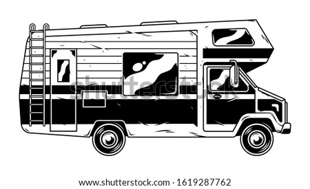 Vintage recreational vehicle Camper car isolated on white background for family trip and travel outdoor and camping. Retro custom graphic illustration of transport engraving style print design.