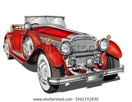 Vintage red car.