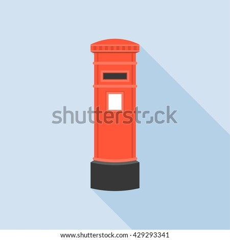 Vintage red mail Post box illustration, isolated with long shadow flat design