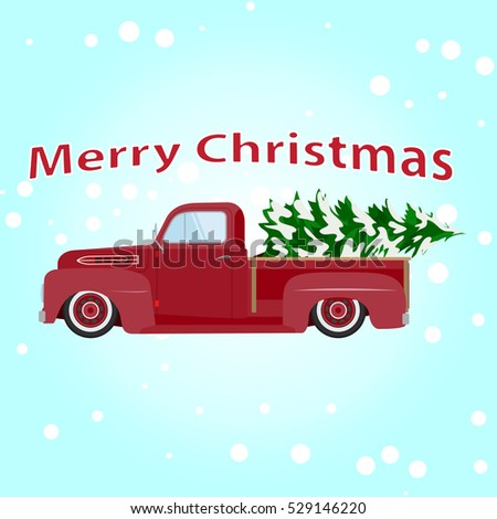 Vintage red pickup car with Christmas tree. #529146220