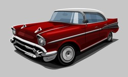 Vintage red retro car. Vector illustration.
