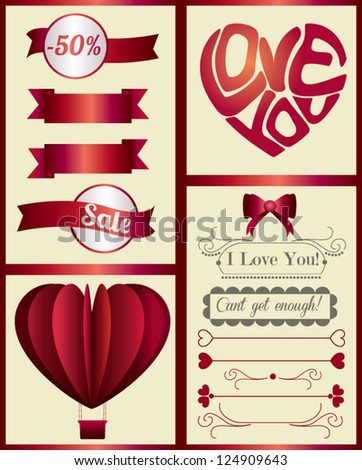 Vintage Red Valentine's Day page design elements isolated on light background - vector set