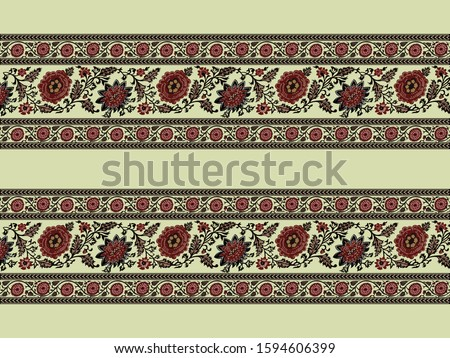 Vintage repeat border with floral symmetry. Vector