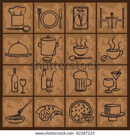 Vintage restaurant icons Restaurant icons on old paper background.