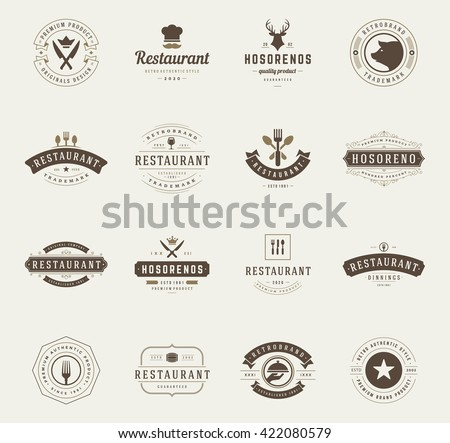 Vintage Restaurant Logos Design Templates Set. Vector design elements, Restaurant and Cafe icons, Fast Food Silhouettes.