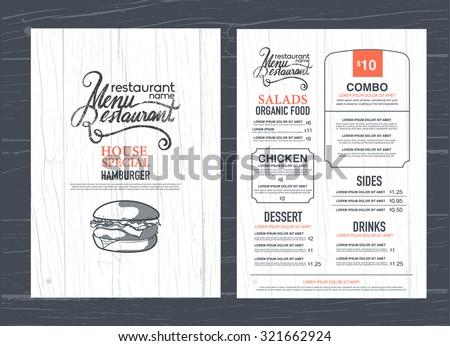vintage restaurant menu design and wood texture background.