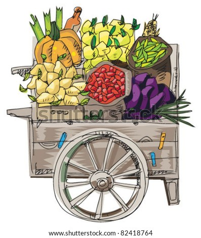vintage retail cart with vegetables and fruits