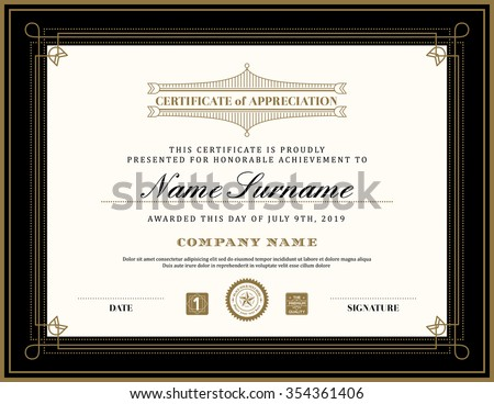 diploma certificate abstract line vector  vintage retro art deco frame certificate background design template