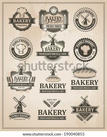 Vintage Retro Bakery Badge And Label Set