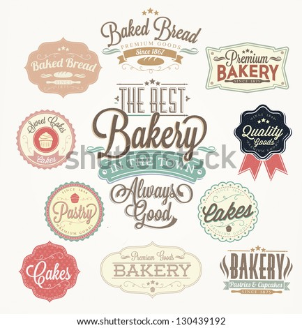 vintage retro bakery badges and