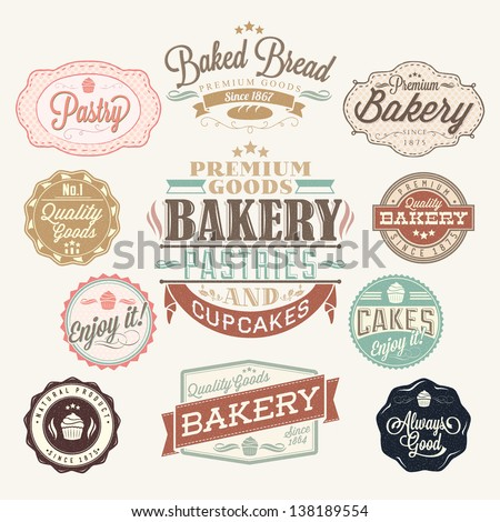 vintage retro bakery badges and ...