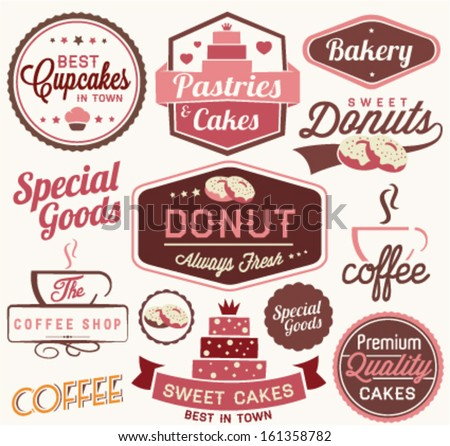 Vintage Retro Bakery Badges And Labels Ilustración vectorial en stock ...